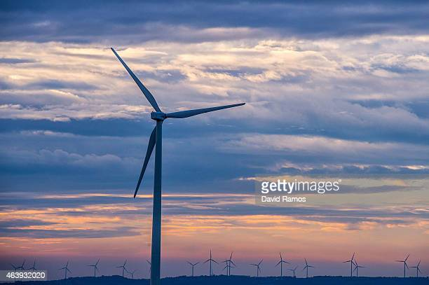 A wind turbine spins at an Acciona wind farm on February 17 2015 near Igualada Spain France and Spain inaugurate the newly combined electrecity...