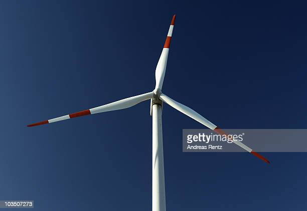 A wind turbine spins on August 20 2010 in Siebenhausen near Bitterfeld Germany Germany is investing heavily in renewable energy production including...