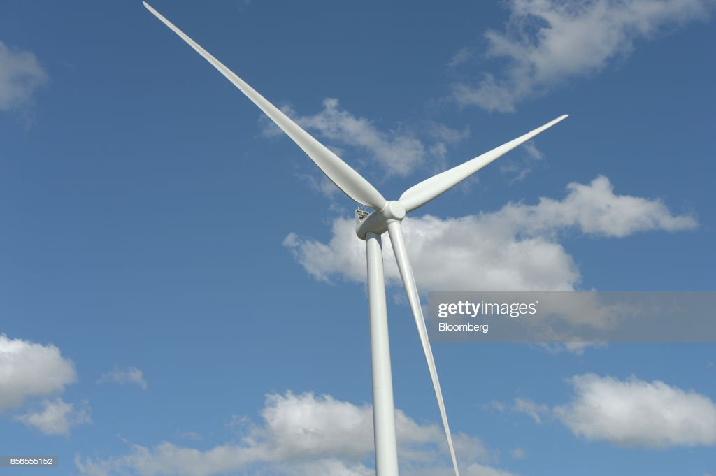 A wind turbine stands at the Hornsdale wind farm, operated by Neoen SAS, near Jamestown, South Australia, on Friday, Sept. 29, 2017. About half the capacity of the worlds largest lithium-ion battery project is installed at Hornsdale wind farm in South Australia, Tesla chief executive officer Elon Musksaid at an event on Sept. 29. When this is done in just a few months, it will be the largest battery installation by a factor of three in the world, Musk said. Photographer: Carla Gottgens/Bloomberg via Getty Images