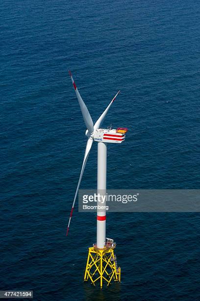 A wind turbine stands in the North Sea at the Nordsee OST offshore wind park operated by RWE AG off the coast of the Heligoland archipelago in...