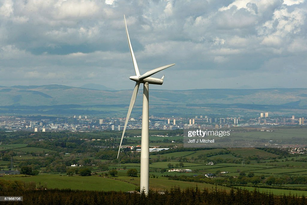 A wind turbine stands with the city of Glasgow in the background as Whitelee, Europe's largest onshore windfarm, is officially opened on May 20, 2009 in Eaglesham, Scotland. The Whitelee wind farm will power 180,000 homes and has plans granted by the Scottish Government to power a further 70,000.