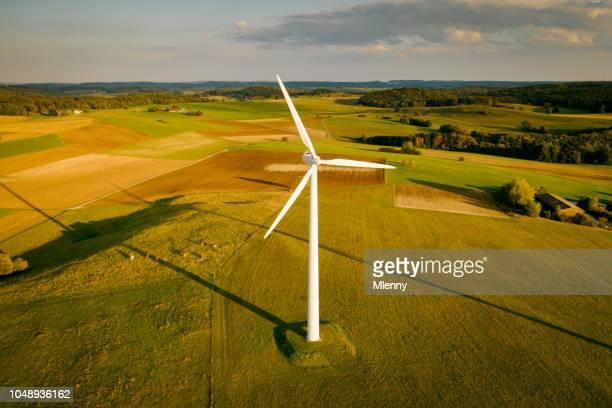 Wind Turbine Sunset Aerial View Alternative Energy