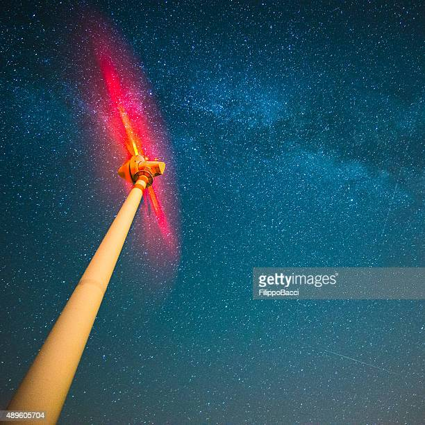Wind Turbine Under The Stars