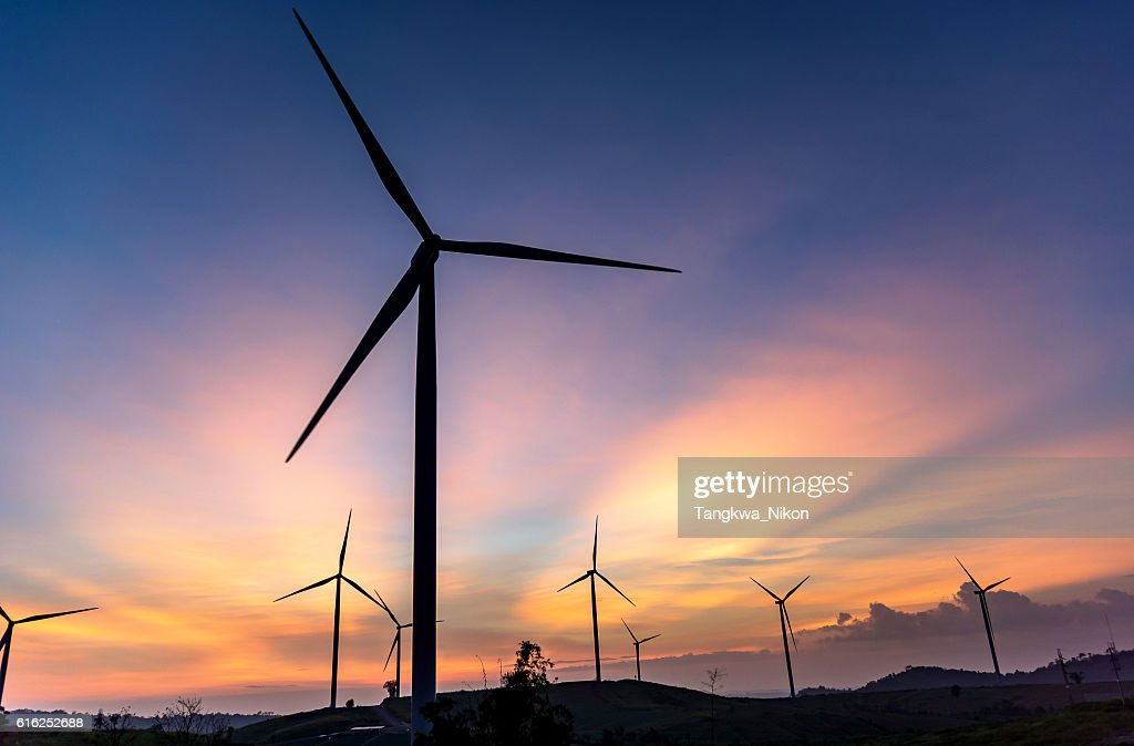Wind turbine with ray of light : Foto de stock