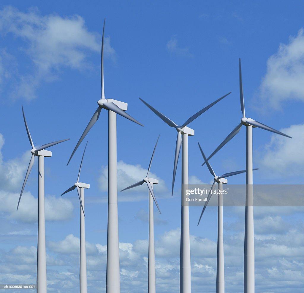 Wind turbines against blue sky : Foto stock