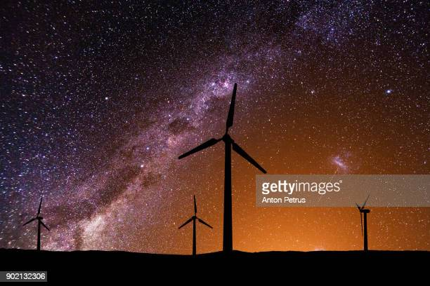 Wind turbines against the beautiful starry sky