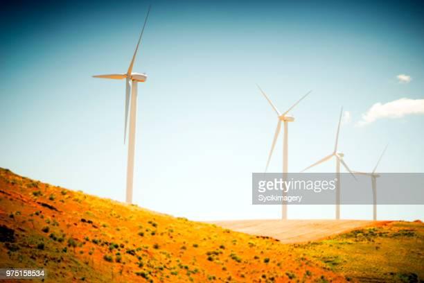 Wind turbines along hillside