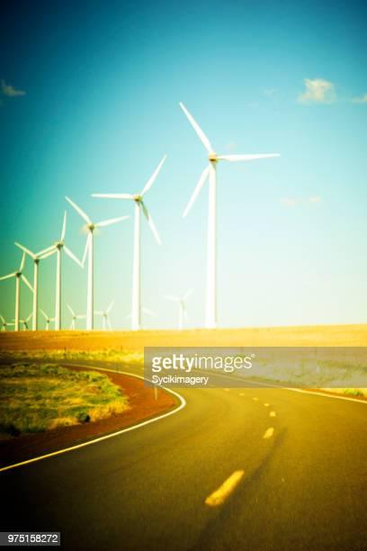 Wind turbines along rural highway