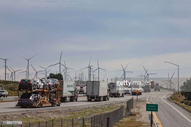 Wind turbines along side the I10 Freeway at Palm Springs Riverside County California