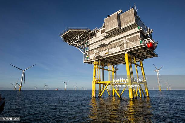Wind turbines and a substation in the offshore wind farm Amrumbank West of the EON SE