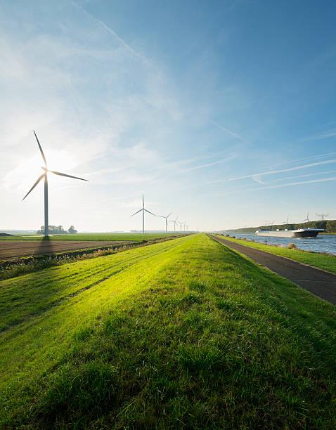 Wind Turbines And Canal, Bath, Zeeland, Netherlands Wall Art