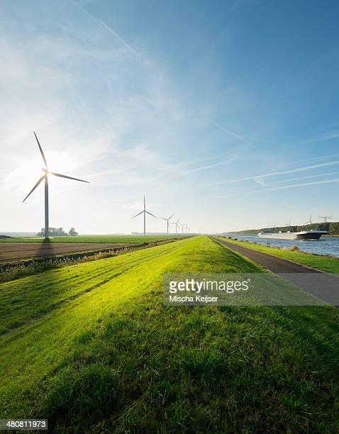 Wind turbines and canal, Bath, Zeeland, Netherlands