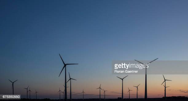 Wind turbines are captured on April 30 2017 in Nauen Germany