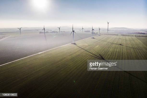 Wind turbines are pictured on November 11 2018 in Melaune Germany