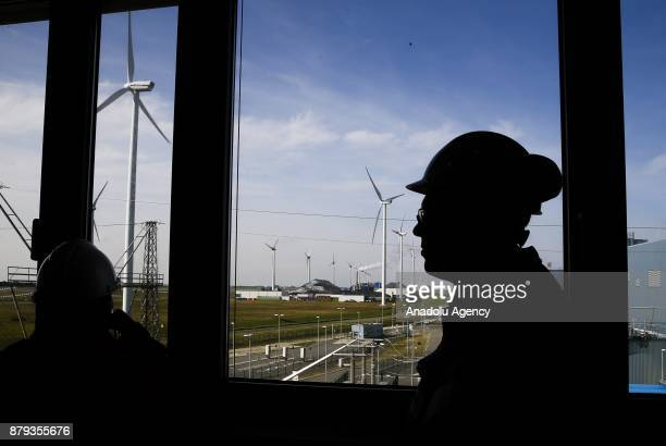 Wind turbines are seen at RWE AG Eemshaven Power Plant in Groningen the Netherlands on November 26 2017 As the one of Europe's most important...