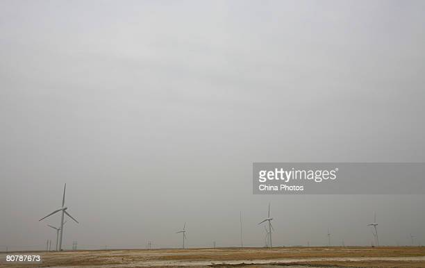 Wind turbines are seen at the Dagangzi Wind Farm on April 20 2008 in Baicheng of Jilin Province China Baicheng is abundant in wind resources and six...