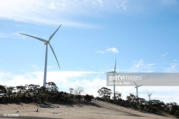 Wind turbines are seen on a hill on April 18 2013 in Waterloo Australia South Australia's Environmental Protection Agency in conjunction with the...