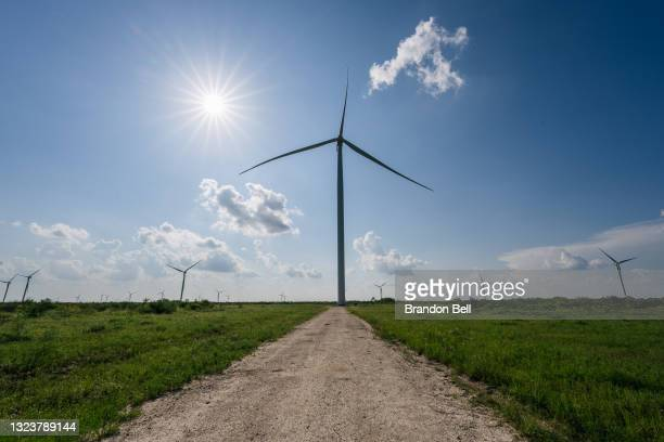Wind turbines are shown on June 15, 2021 in Papalote, Texas. The Electric Reliability Council of Texas , which controls approximately 90 percent of...