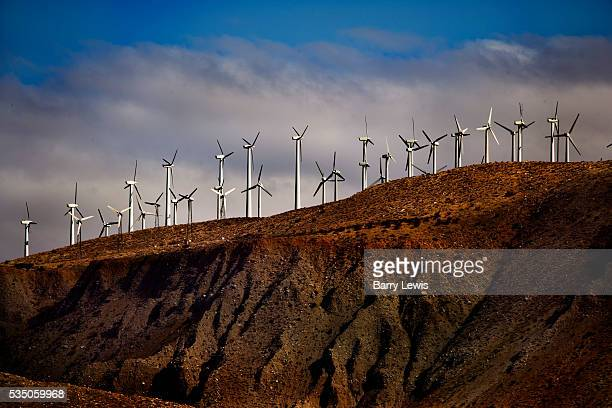 Wind turbines at San Gorgonio Pass California San Gorgonio Pass California cuts between the San Bernardino Mountains on the north and the San Jacinto...