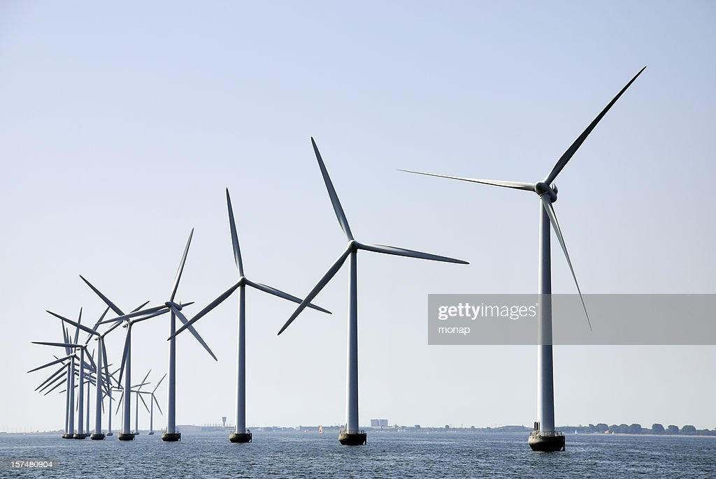Wind turbines at sea outside Copenhagen, horizontal : Stock Photo