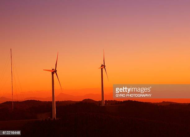 Wind turbines at sunset, Mie Prefecture, Japan