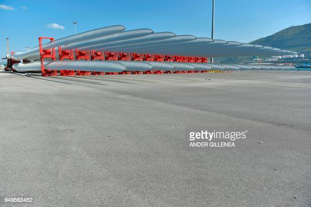 Wind blades are stored at Bilbao´s harbour on April 20 2018