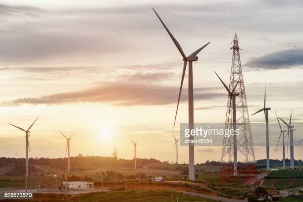 Wind turbines for make electrical energy. Green energy concept.