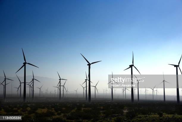Wind turbines generate electricity at the San Gorgonio Pass Wind Farm near Palm Springs California Located in the windy gap between Southern...