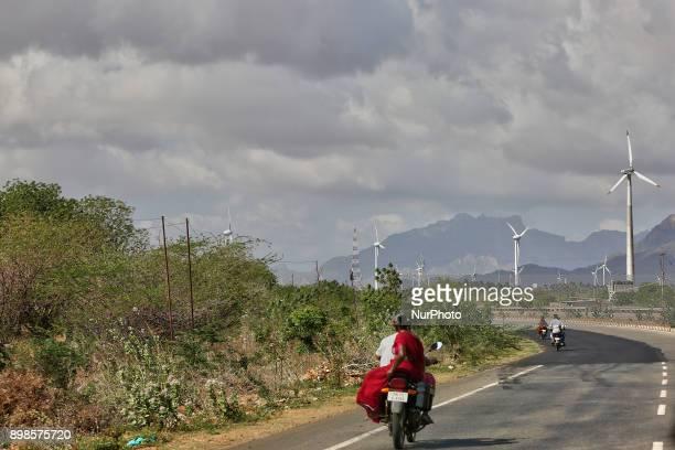 Wind turbines generate electricity in Kavalkinaru Tamil Nadu India