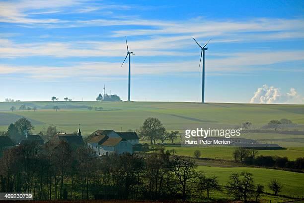 wind turbines in landscape