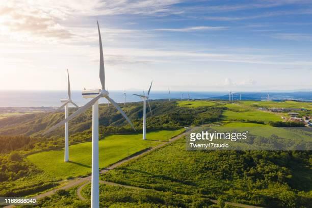 wind turbines in nikaho highland in akita,japan - 風力発電 ストックフォトと画像