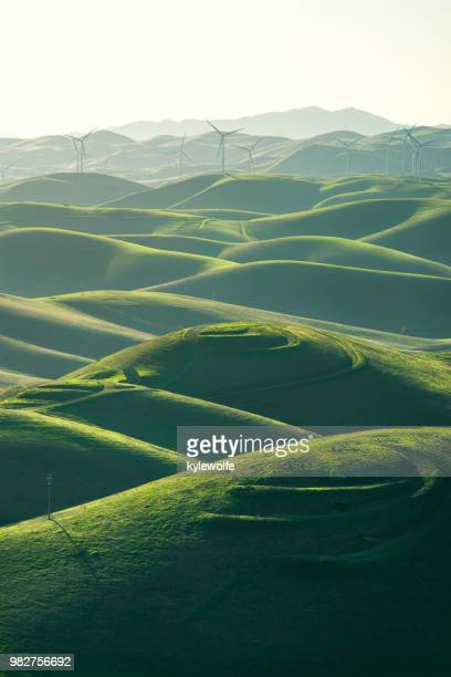 wind turbines in rolling landscape, livermore, brushy peak regional preserve, california, america, usa - power in nature stock pictures, royalty-free photos & images