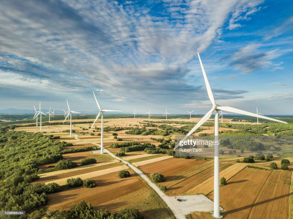 Wind turbines landscape in day light : Bildbanksbilder