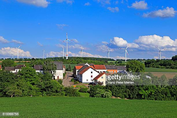wind turbines near a little village, Germany