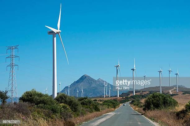 wind turbines near casares, malaga, spain - indigo casares fotografías e imágenes de stock