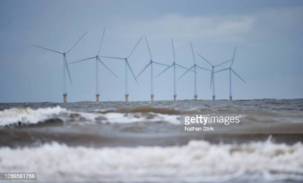 Wind turbines of Burbo Bank Offshore Wind Farm in the Irish Sea on November 19, 2020 in Wallasey, England. The UK Government released details of its...