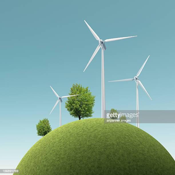 wind turbines on a green hill - 風力発電 ストックフォトと画像