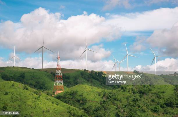 wind turbines on a mountain, phetchabun, thailand - south east asia stock pictures, royalty-free photos & images