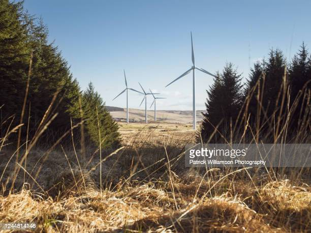 wind turbines on a wind farm in rural ulster, northern ireland. - northern ireland stock pictures, royalty-free photos & images