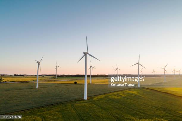 wind turbines on agricultural land against clear sky - 風力発電 ストックフォトと画像