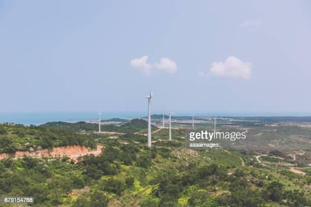 Wind Turbines on green field,wind farm
