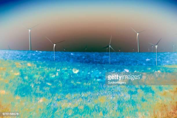 Wind turbines on hillside, inverted effect
