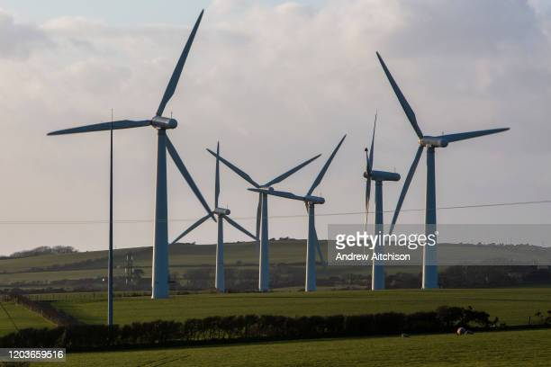 Wind turbines on Llyn Alaw Wind Farm in full electricity production during the tail end of Storm Dennis on 17th February 2020 in Anglesey Wales...