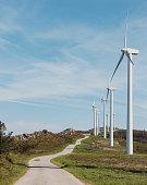 wind turbines mountain road