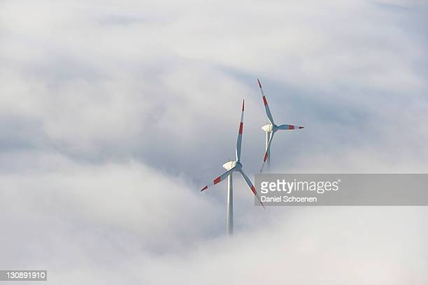 Wind turbines on Mt Schauinsland, Freiburg, Baden-Wuerttemberg, Germany, Europe