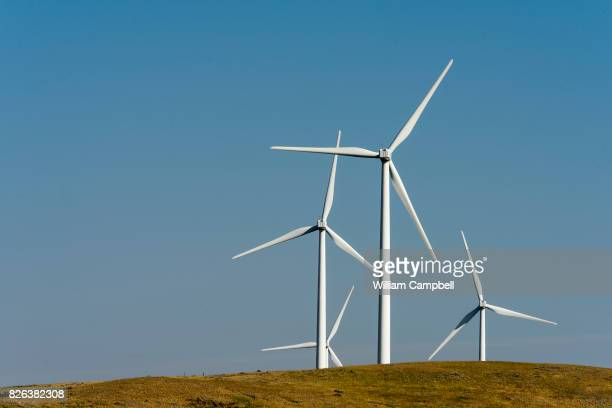 Wind turbines on private working ranch land on August 1 2017 near Kevin Montana The Rim Rock Wind Farm is operated by NaturEner USA with 126 wind...