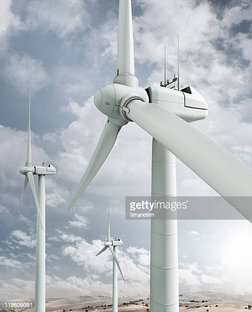 Wind Turbines on the hill with blue sky