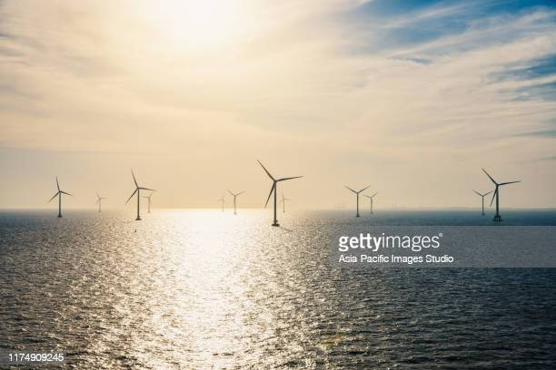 wind turbines on the ocean. - american style windmill stock pictures, royalty-free photos & images