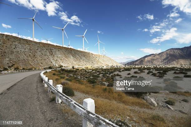 Wind turbines operate at a wind farm a key power source for the Coachella Valley on May 6 2019 in Whitewater California California's Fourth Climate...