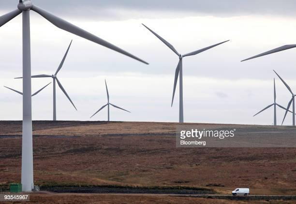 Wind turbines operate at Whitelee wind farm on Eaglesham Moor near Glasgow Scotland UK on Tuesday Dec 1 2009 Iberdrola SA's Scottish Power unit has...